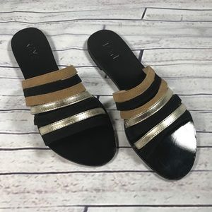 NEW RAYE Leather & Suede Slide On Sandals Sz 39.5